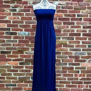XXI Navy 100% Rayon Strapless Elastic Maxi Dress